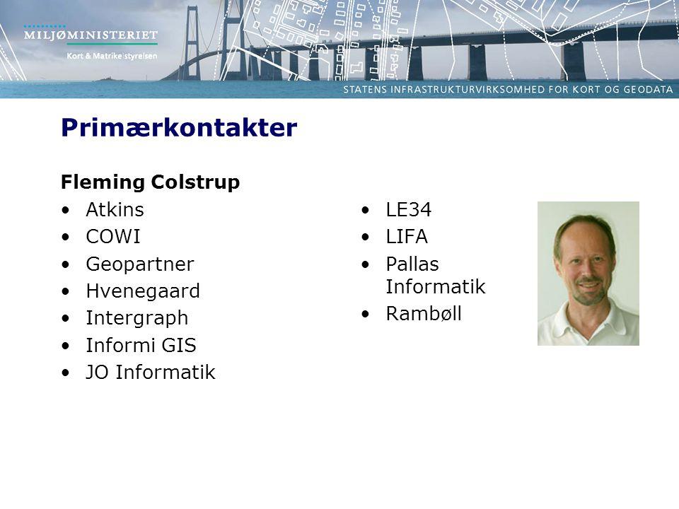 Primærkontakter Fleming Colstrup Atkins COWI Geopartner Hvenegaard Intergraph Informi GIS JO Informatik LE34 LIFA Pallas Informatik Rambøll