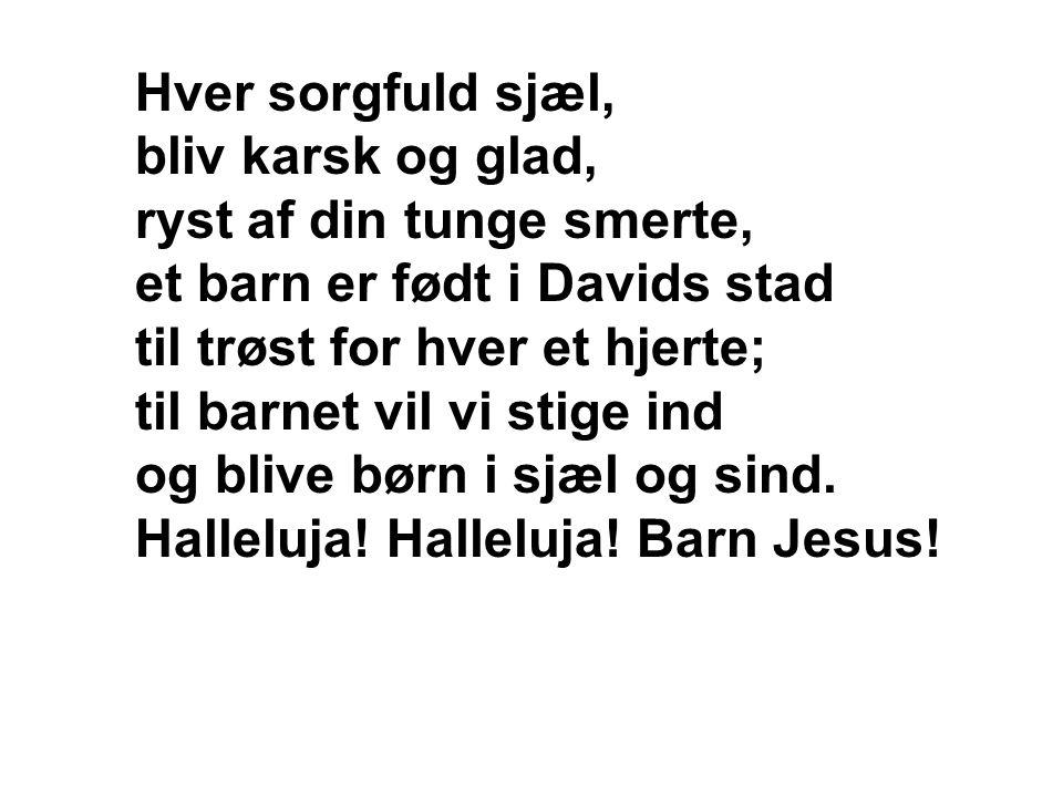 Hver sorgfuld sjæl, bliv karsk og glad, ryst af din tunge smerte, et barn er født i Davids stad til trøst for hver et hjerte; til barnet vil vi stige
