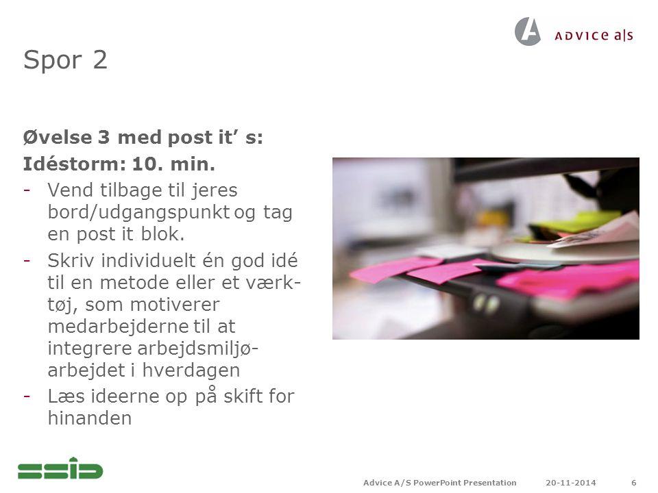 Spor 2 Øvelse 3 med post it' s: Idéstorm: 10. min.