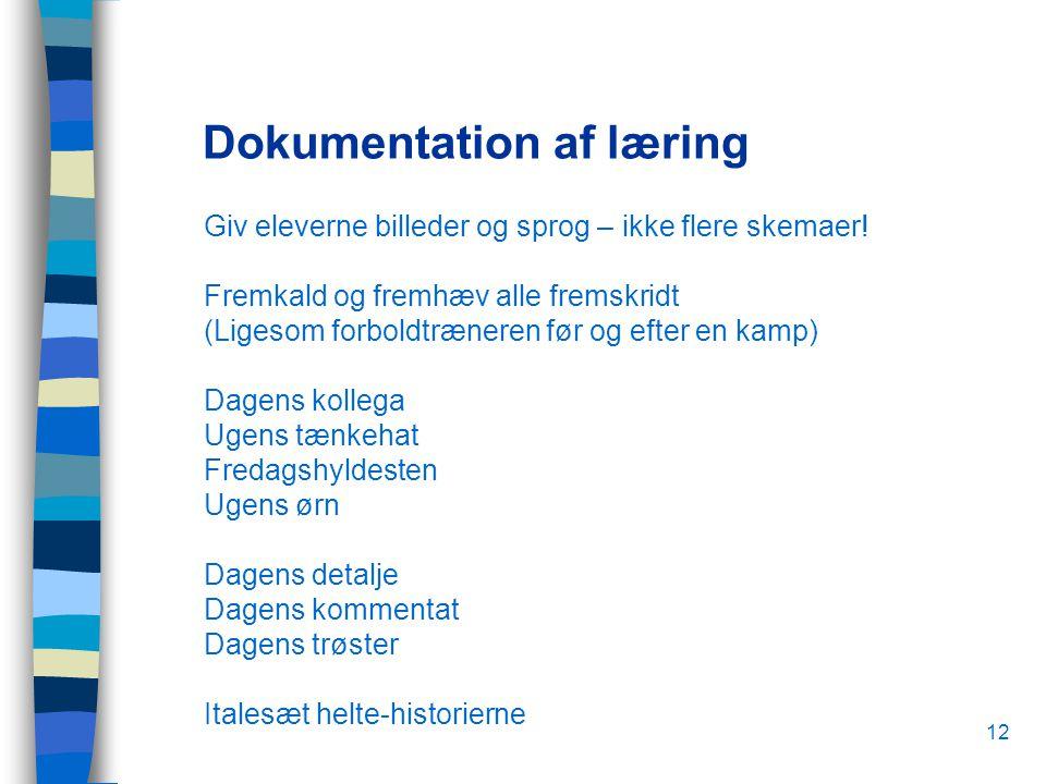 12 Dokumentation af læring Giv eleverne billeder og sprog – ikke flere skemaer.