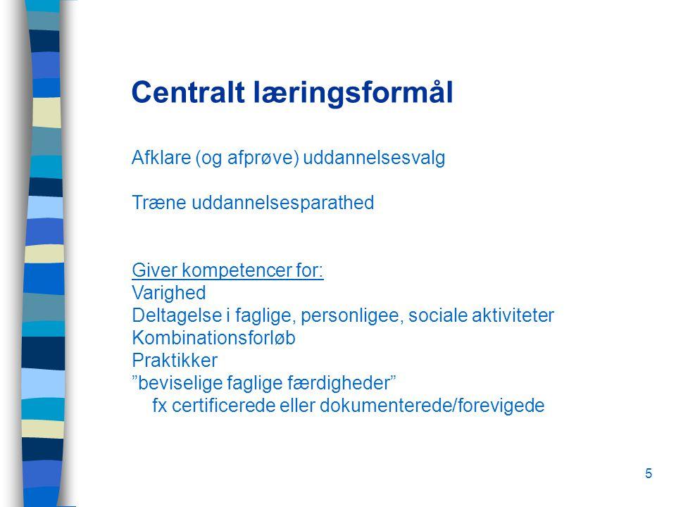5 Centralt læringsformål Afklare (og afprøve) uddannelsesvalg Træne uddannelsesparathed Giver kompetencer for: Varighed Deltagelse i faglige, personligee, sociale aktiviteter Kombinationsforløb Praktikker beviselige faglige færdigheder fx certificerede eller dokumenterede/forevigede