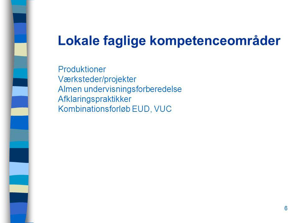 6 Lokale faglige kompetenceområder Produktioner Værksteder/projekter Almen undervisningsforberedelse Afklaringspraktikker Kombinationsforløb EUD, VUC