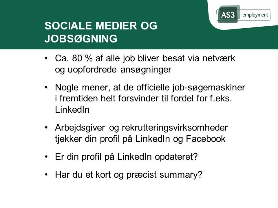 SOCIALE MEDIER OG JOBSØGNING Ca.