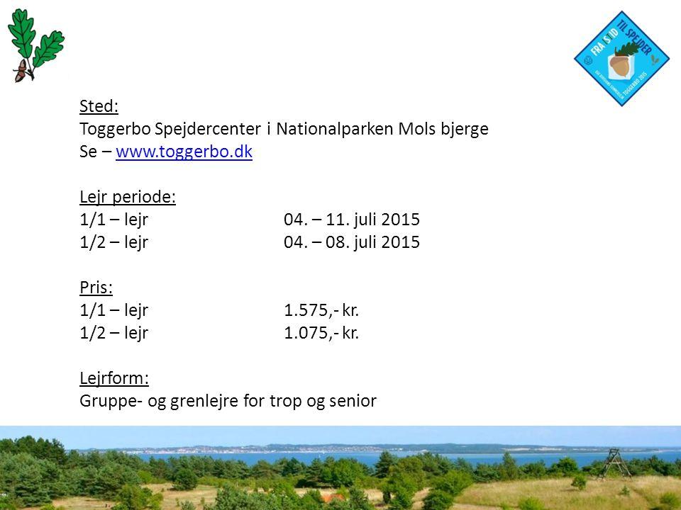 Sted: Toggerbo Spejdercenter i Nationalparken Mols bjerge Se – www.toggerbo.dkwww.toggerbo.dk Lejr periode: 1/1 – lejr 04.