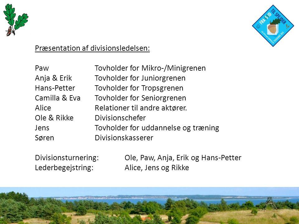 Præsentation af divisionsledelsen: PawTovholder for Mikro-/Minigrenen Anja & ErikTovholder for Juniorgrenen Hans-PetterTovholder for Tropsgrenen Camilla & EvaTovholder for Seniorgrenen AliceRelationer til andre aktører.