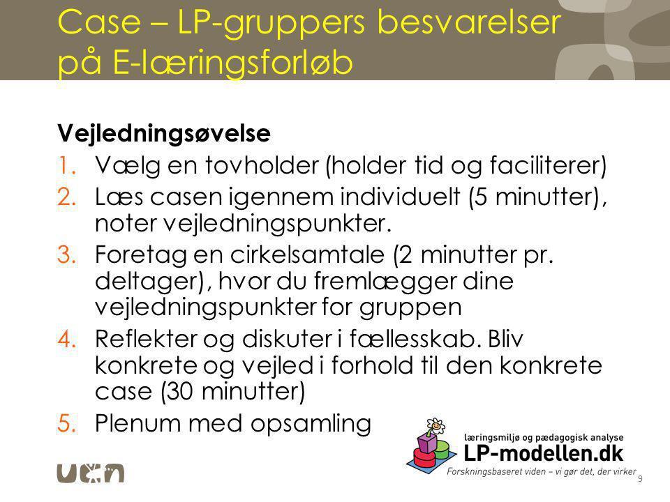 Case – LP-gruppers besvarelser på E-læringsforløb Vejledningsøvelse 1.Vælg en tovholder (holder tid og faciliterer) 2.Læs casen igennem individuelt (5 minutter), noter vejledningspunkter.