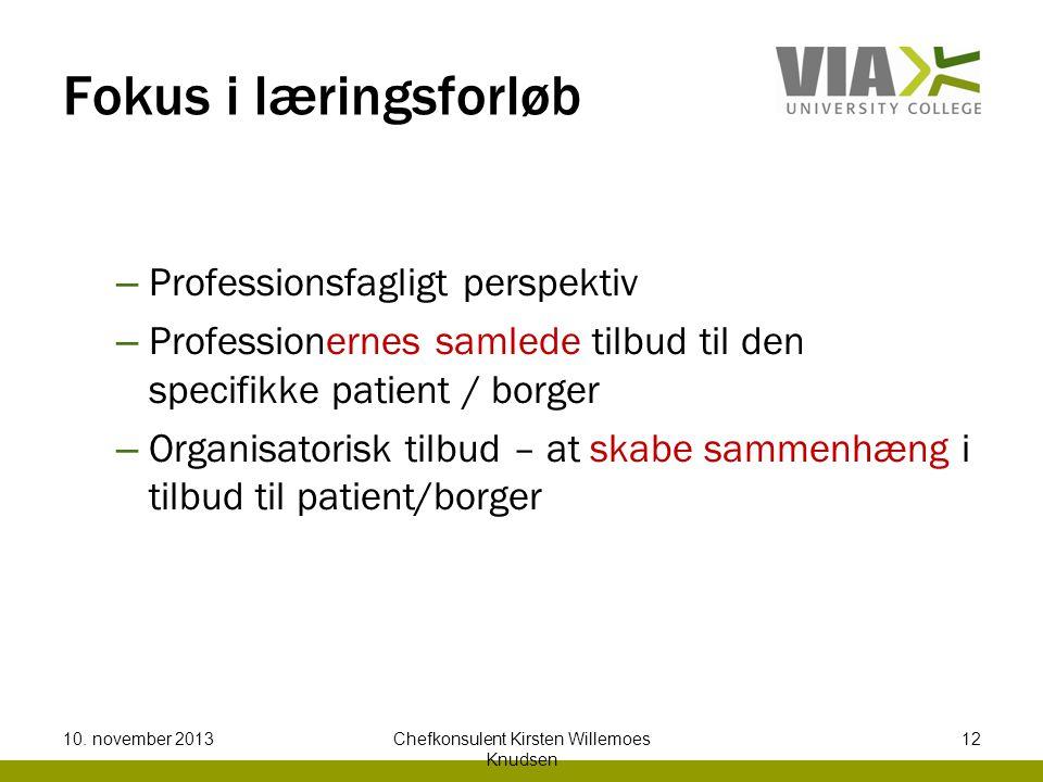 Fokus i læringsforløb – Professionsfagligt perspektiv – Professionernes samlede tilbud til den specifikke patient / borger – Organisatorisk tilbud – at skabe sammenhæng i tilbud til patient/borger 10.
