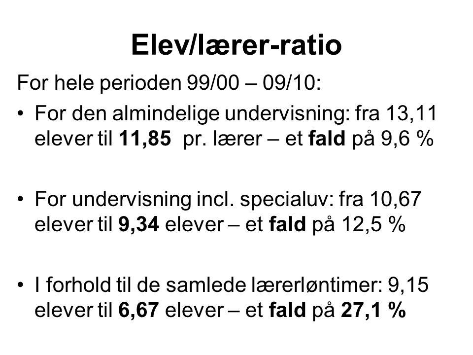 Elev/lærer-ratio For hele perioden 99/00 – 09/10: For den almindelige undervisning: fra 13,11 elever til 11,85 pr.