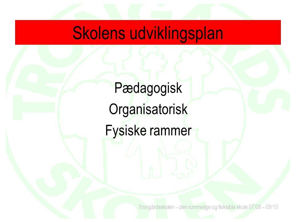 Trongårdsskolen – den rummelige og fleksible skole 07/08 – 09/10 Pædagogisk Organisatorisk Fysiske rammer Skolens udviklingsplan