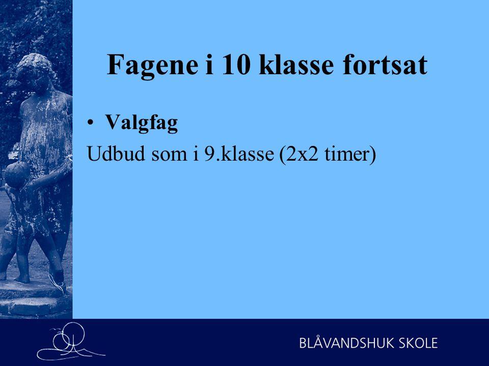 Fagene i 10 klasse fortsat Valgfag Udbud som i 9.klasse (2x2 timer)