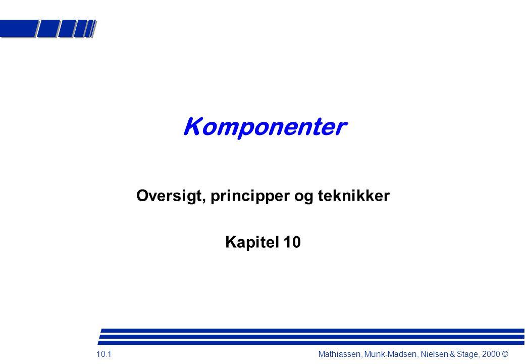10.1 Mathiassen, Munk-Madsen, Nielsen & Stage, 2000 © Komponenter Oversigt, principper og teknikker Kapitel 10