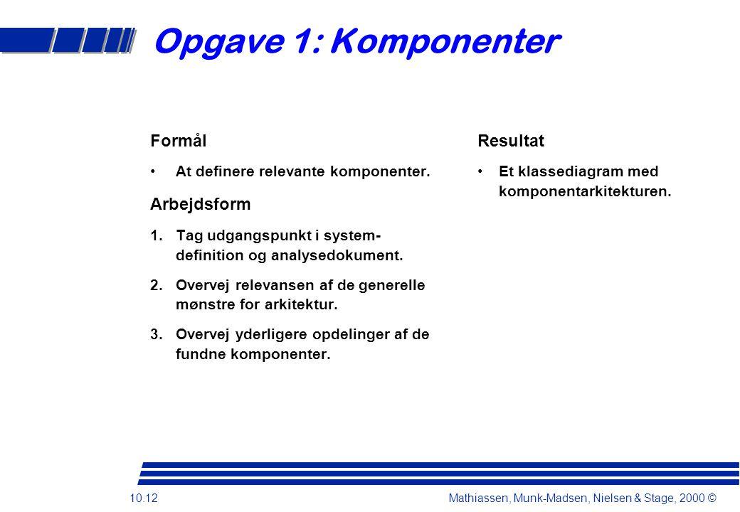 10.12 Mathiassen, Munk-Madsen, Nielsen & Stage, 2000 © Opgave 1: Komponenter Formål At definere relevante komponenter.