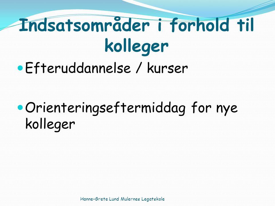 Indsatsområder i forhold til kolleger Efteruddannelse / kurser Orienteringseftermiddag for nye kolleger Hanne-Grete Lund Mulernes Legatskole
