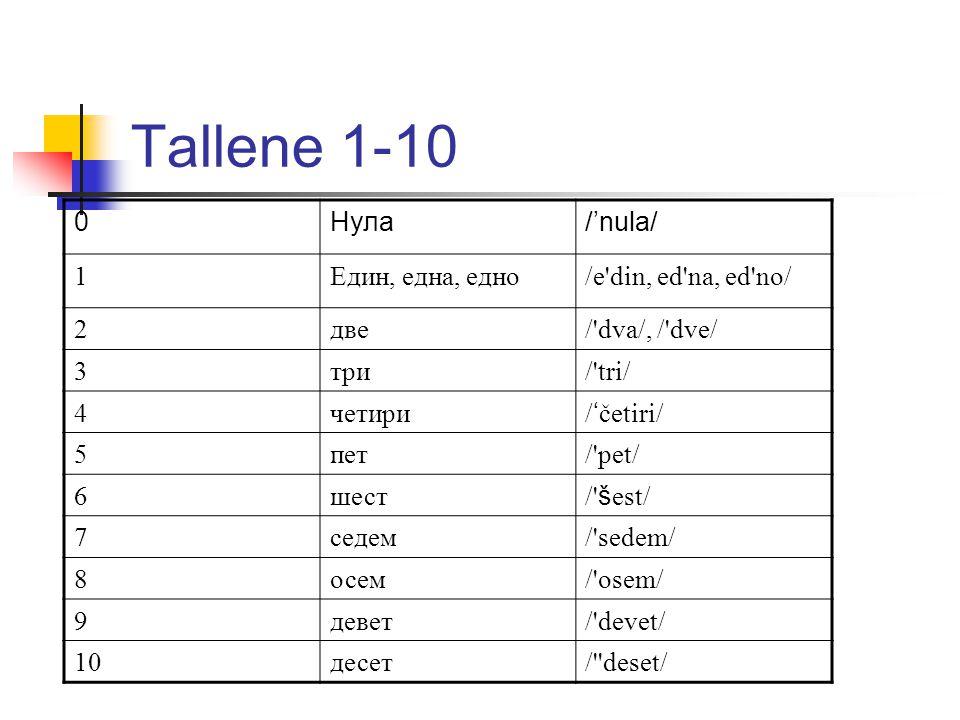 Tallene 1-10 0Нула/'nula/ 1Един, една, едно/e din, ed na, ed no/ 2две/ dva/, / dve/ 3три/ tri/ 4четири / ' četiri/ 5пет/ pet/ 6шест / š est/ 7седем/ sedem/ 8осем/ osem/ 9девет/ devet/ 10десет/ deset/