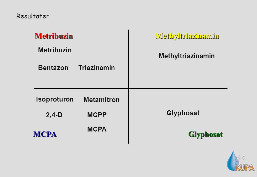 Resultater Metribuzin MCPAGlyphosat Methyltriazinamin BentazonTriazinamin Metribuzin Glyphosat MCPA Methyltriazinamin MCPP2,4-D Metamitron Isoproturon
