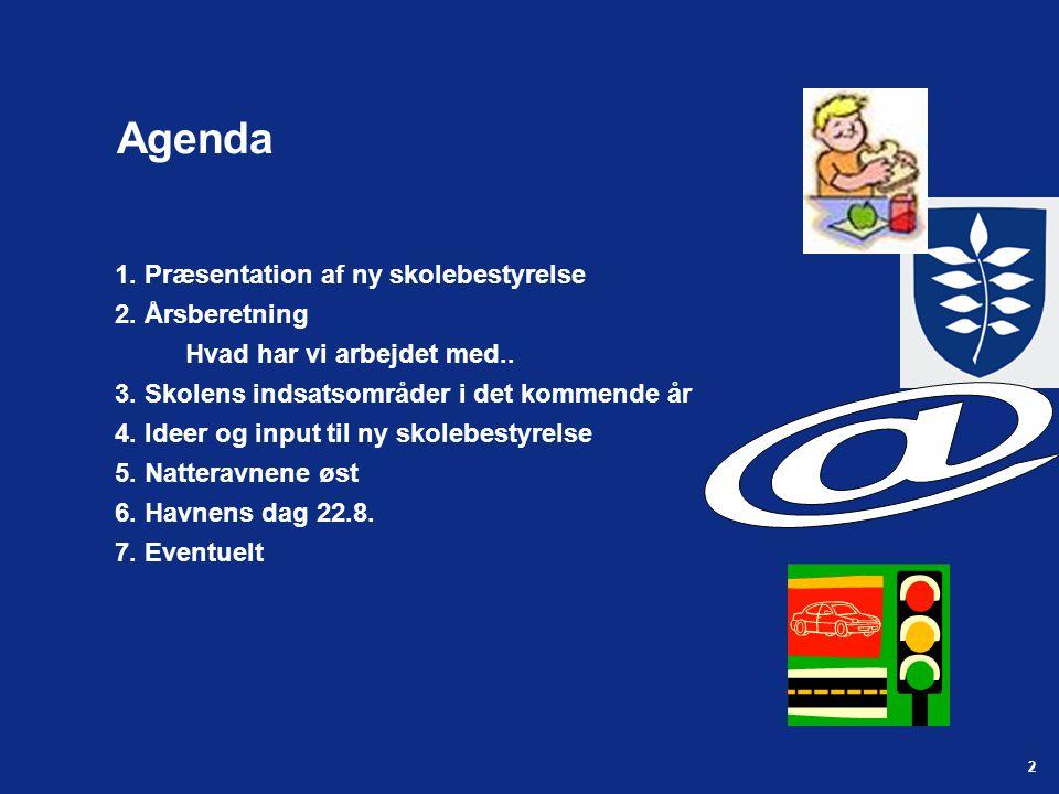 2 Agenda 1. Præsentation af ny skolebestyrelse 2.