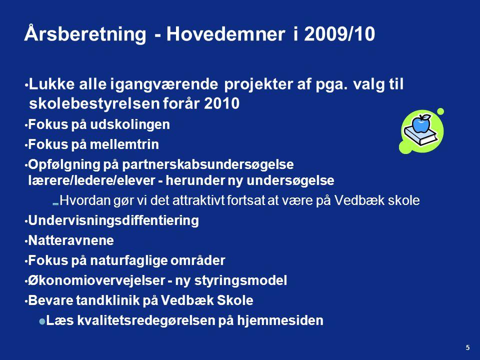 5 Årsberetning - Hovedemner i 2009/10 Lukke alle igangværende projekter af pga.