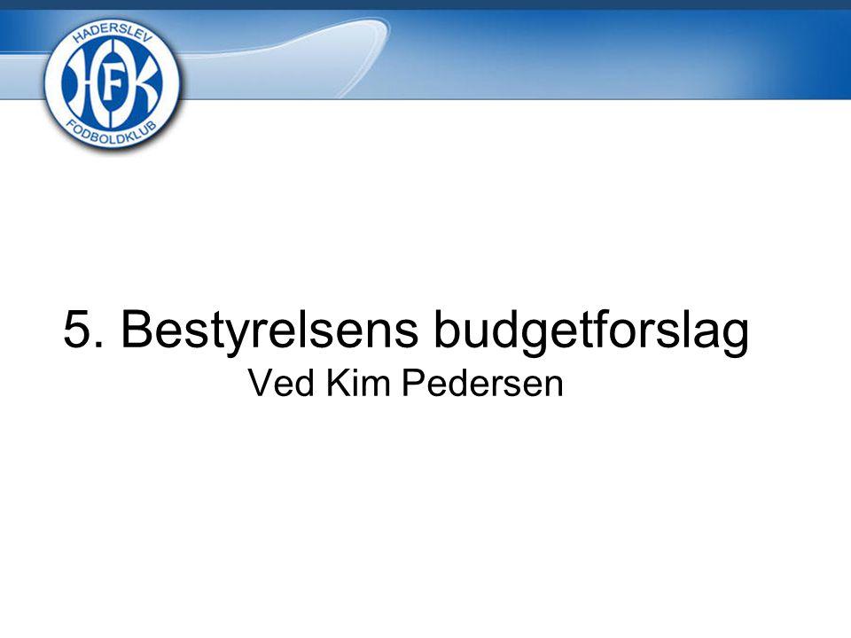 5. Bestyrelsens budgetforslag Ved Kim Pedersen
