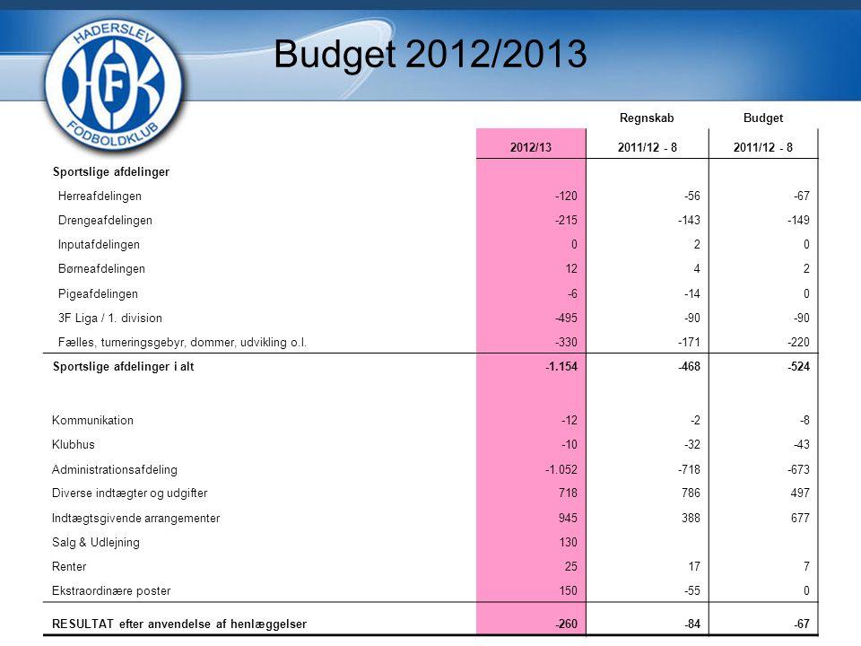 Budget 2012/2013 RegnskabBudget 2012/132011/12 - 8 Sportslige afdelinger Herreafdelingen-120-56-67 Drengeafdelingen-215-143-149 Inputafdelingen020 Børneafdelingen1242 Pigeafdelingen-6-140 3F Liga / 1.