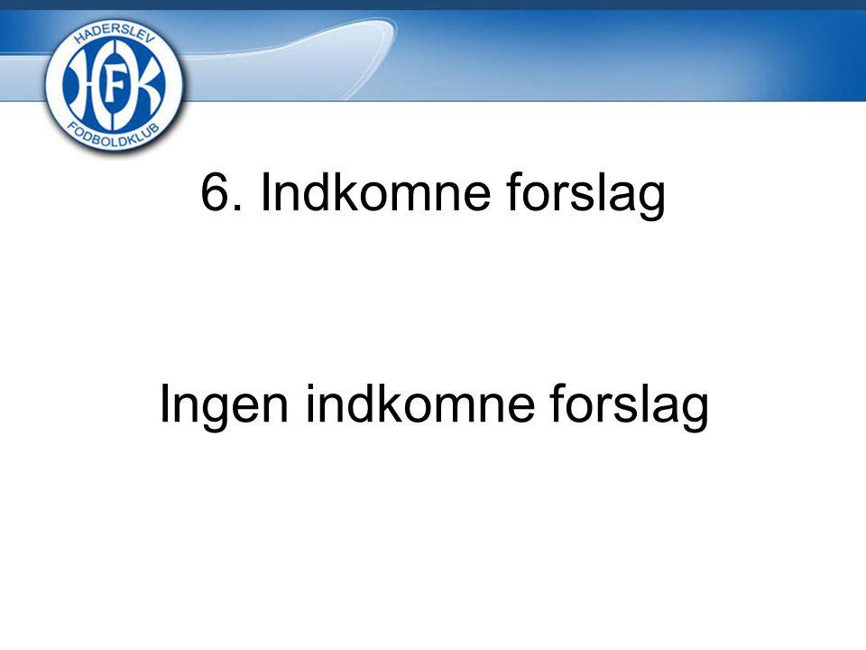 6. Indkomne forslag Ingen indkomne forslag