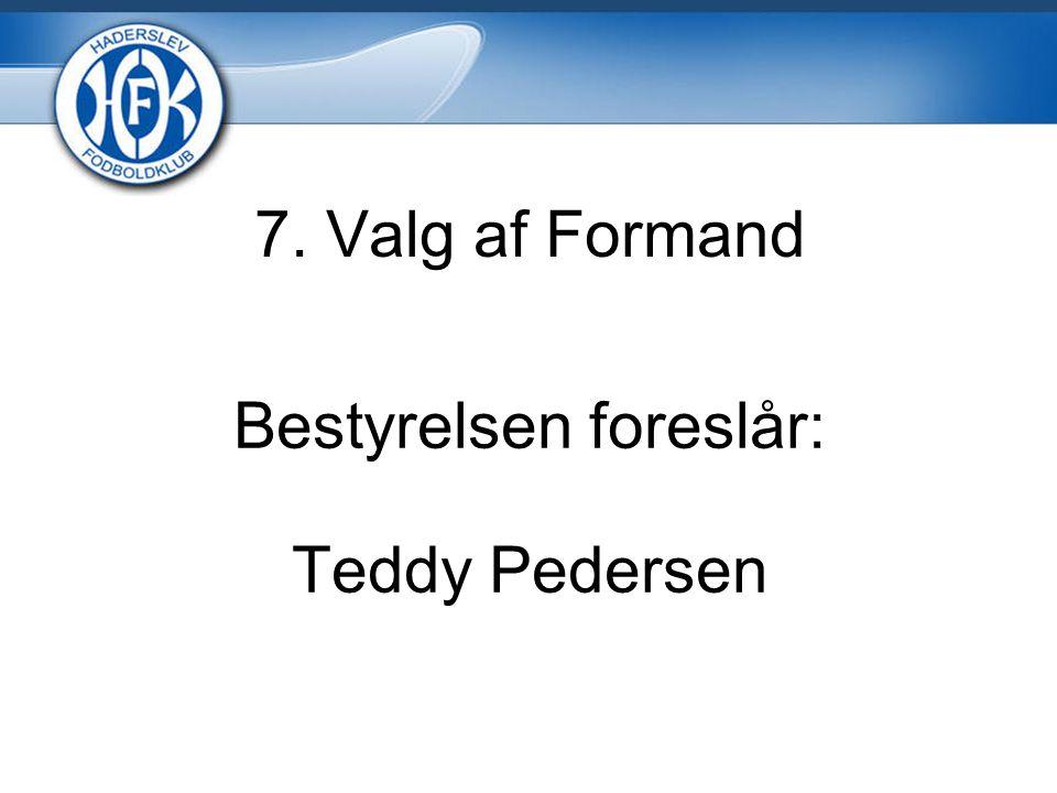7. Valg af Formand Bestyrelsen foreslår: Teddy Pedersen