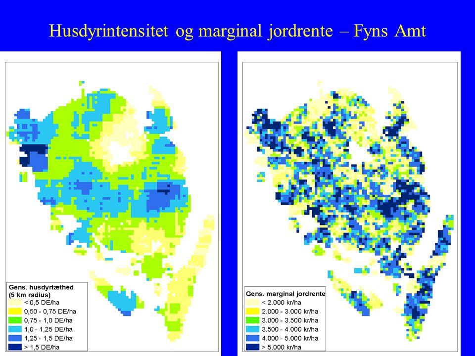 Husdyrintensitet og marginal jordrente – Fyns Amt Høj husdyrintensitet giver høj indtjening for planteavlere Indtjening stiger med bedrifts- omfang