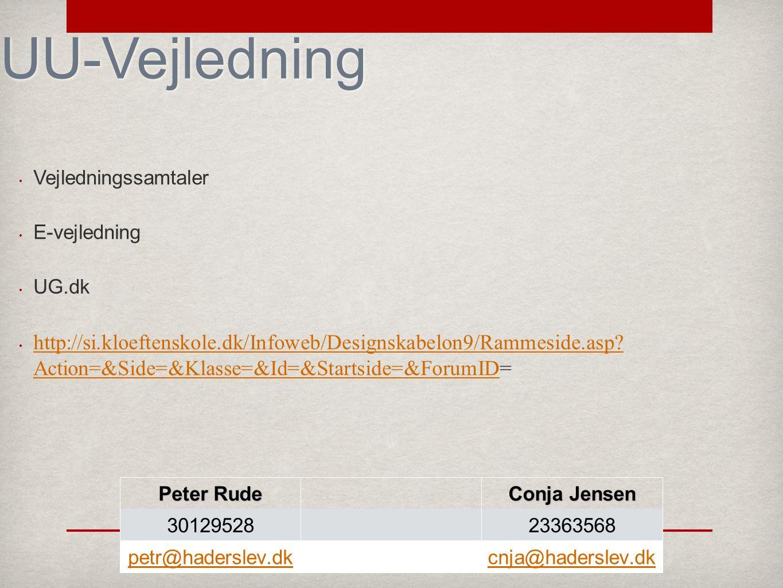 UU-Vejledning Vejledningssamtaler E-vejledning UG.dk http://si.kloeftenskole.dk/Infoweb/Designskabelon9/Rammeside.asp.