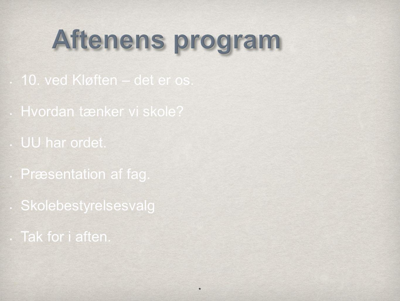 Aftenens program 10. ved Kløften – det er os. Hvordan tænker vi skole.
