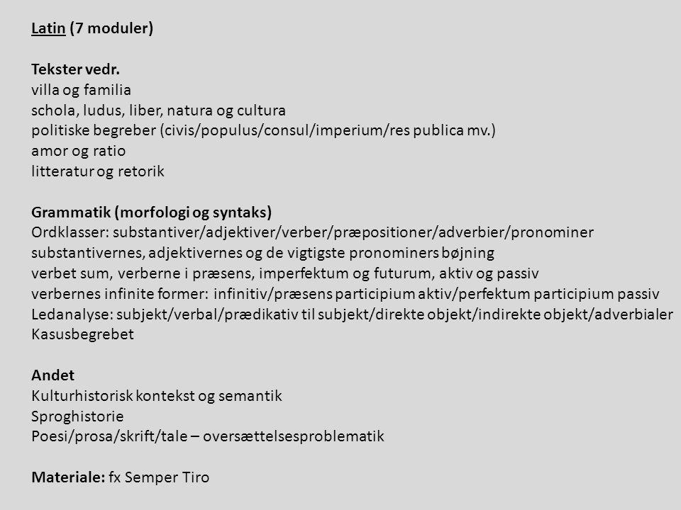 Latin (7 moduler) Tekster vedr.