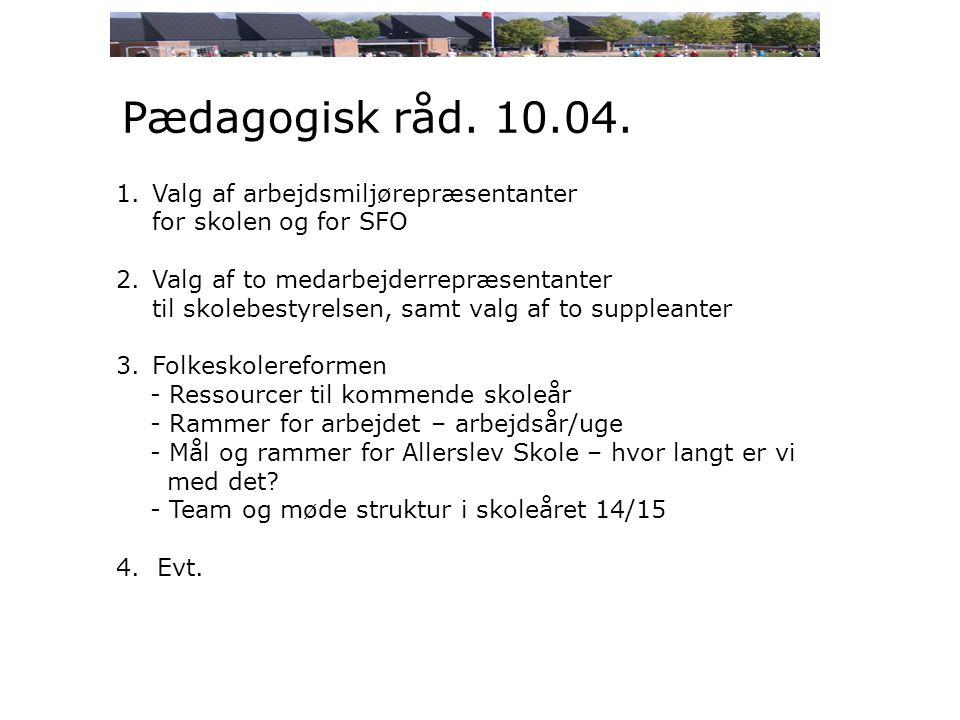 Pædagogisk råd. 10.04.