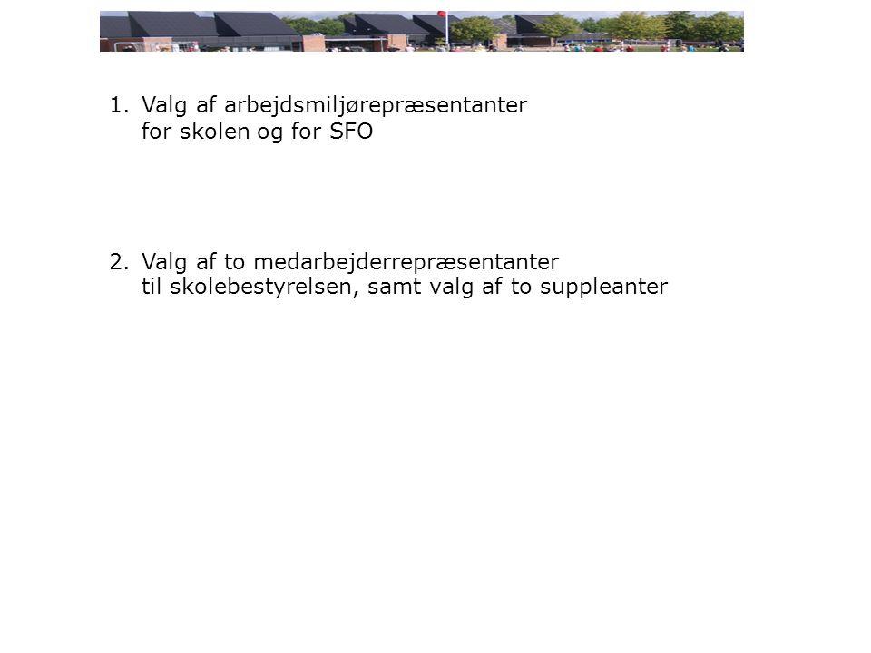 1.Valg af arbejdsmiljørepræsentanter for skolen og for SFO 2.Valg af to medarbejderrepræsentanter til skolebestyrelsen, samt valg af to suppleanter