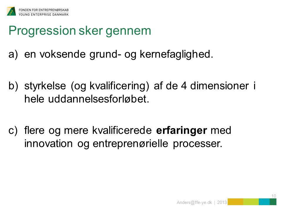 10 Anders@ffe-ye.dk | 2013 Progression sker gennem a)en voksende grund- og kernefaglighed.