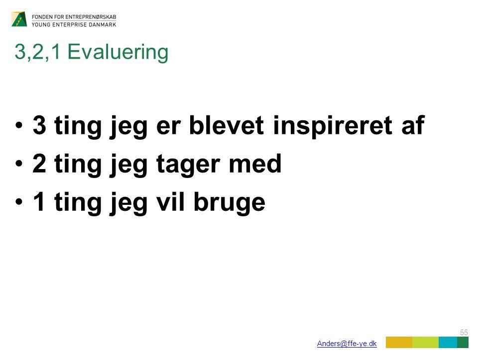 55 Anders@ffe-ye.dk 3,2,1 Evaluering 3 ting jeg er blevet inspireret af 2 ting jeg tager med 1 ting jeg vil bruge