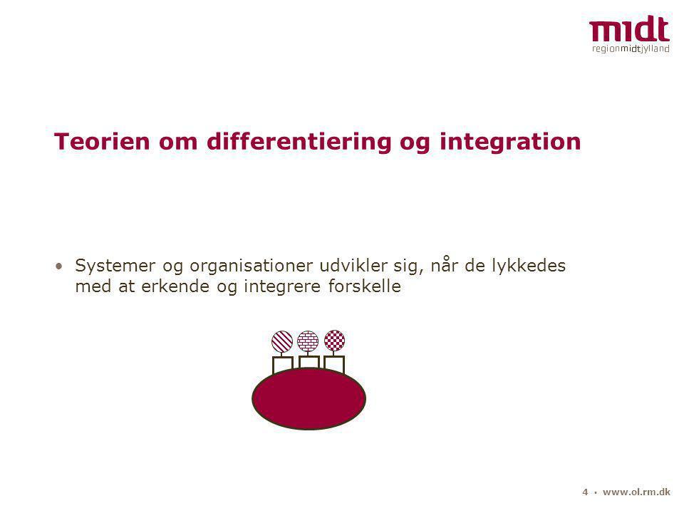 4 ▪ www.ol.rm.dk Teorien om differentiering og integration Systemer og organisationer udvikler sig, når de lykkedes med at erkende og integrere forskelle