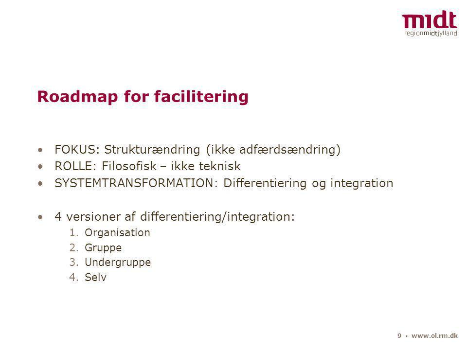 9 ▪ www.ol.rm.dk Roadmap for facilitering FOKUS: Strukturændring (ikke adfærdsændring) ROLLE: Filosofisk – ikke teknisk SYSTEMTRANSFORMATION: Differentiering og integration 4 versioner af differentiering/integration: 1.Organisation 2.Gruppe 3.Undergruppe 4.Selv