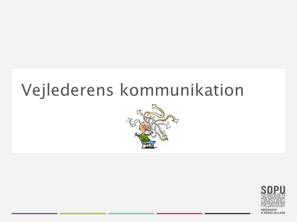 Skift farvedesign Gå til Design i Topmenuen Vælg dit farvedesign fra de seks SOPU-designs Vil du have flere farver, højreklik på farve- designet og vælg 'Applicér på valgte slides' Vejlederens kommunikation