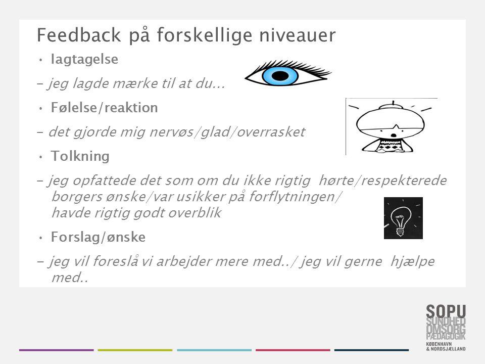 Tekstslide med bullets Brug 'Forøge / Formindske indryk' for at skifte mellem de forskellige niveauer Feedback på forskellige niveauer Iagtagelse – jeg lagde mærke til at du...