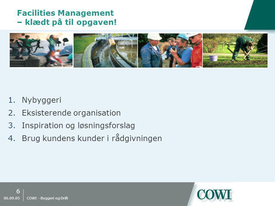 6 06.09.05 COWI - Byggeri og Drift Facilities Management – klædt på til opgaven.