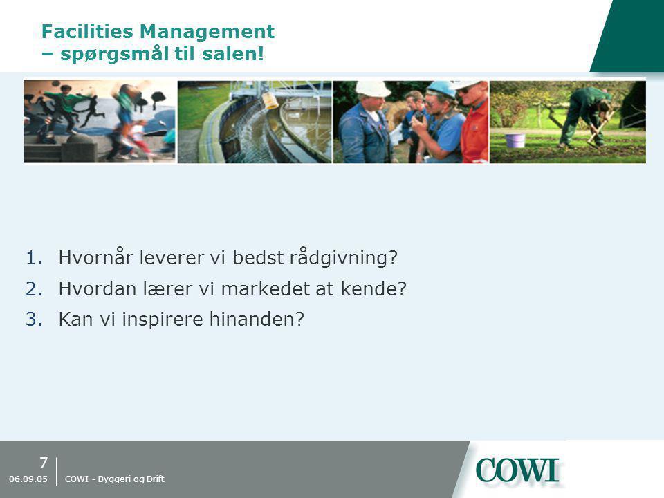 7 06.09.05 COWI - Byggeri og Drift Facilities Management – spørgsmål til salen.