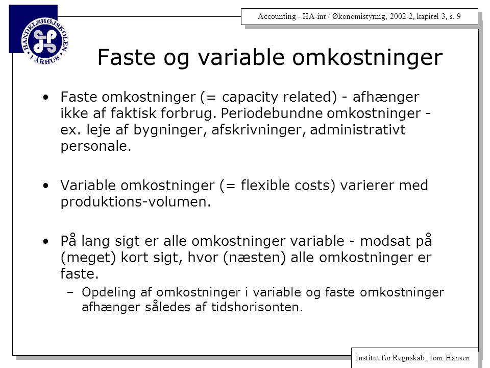 Accounting - HA-int / Økonomistyring, 2002-2, kapitel 3, s.