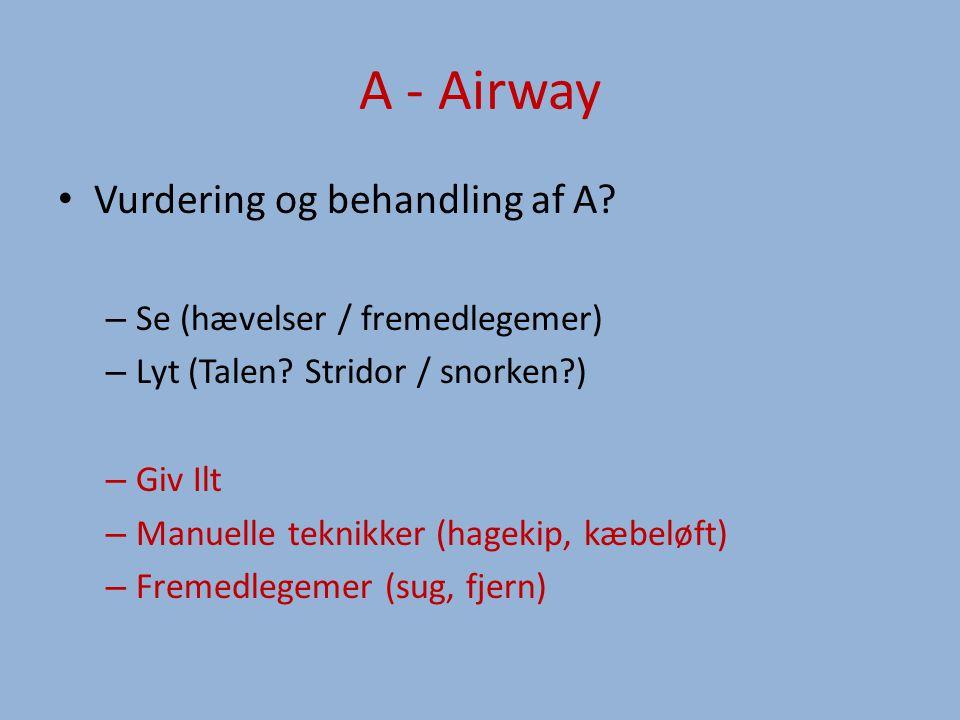 A - Airway Vurdering og behandling af A.– Se (hævelser / fremedlegemer) – Lyt (Talen.