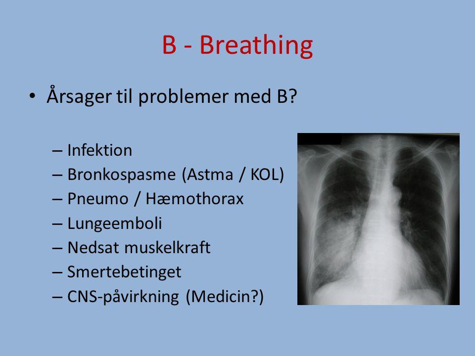 B - Breathing Årsager til problemer med B.