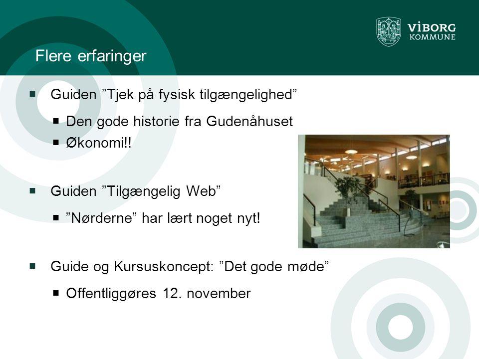 Flere erfaringer  Guiden Tjek på fysisk tilgængelighed  Den gode historie fra Gudenåhuset  Økonomi!.