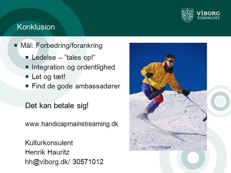 Konklusion  Mål: Forbedring/forankring  Ledelse – tales op!  Integration og ordentlighed  Let og tæt.