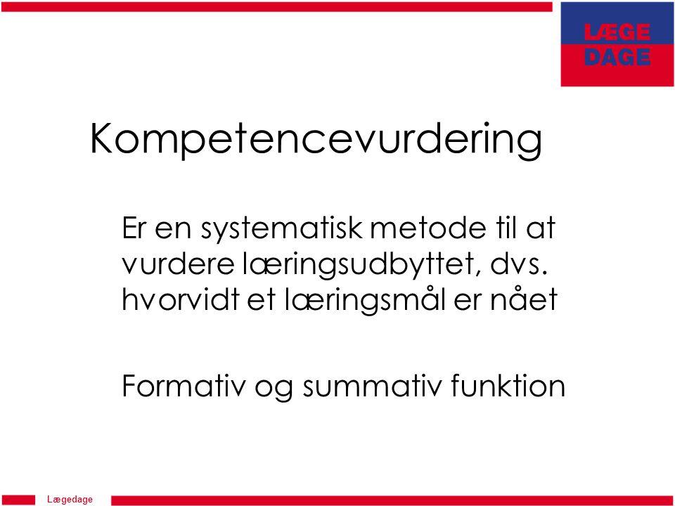 Lægedage Kompetencevurdering Er en systematisk metode til at vurdere læringsudbyttet, dvs.