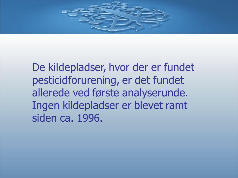 De kildepladser, hvor der er fundet pesticidforurening, er det fundet allerede ved første analyserunde.