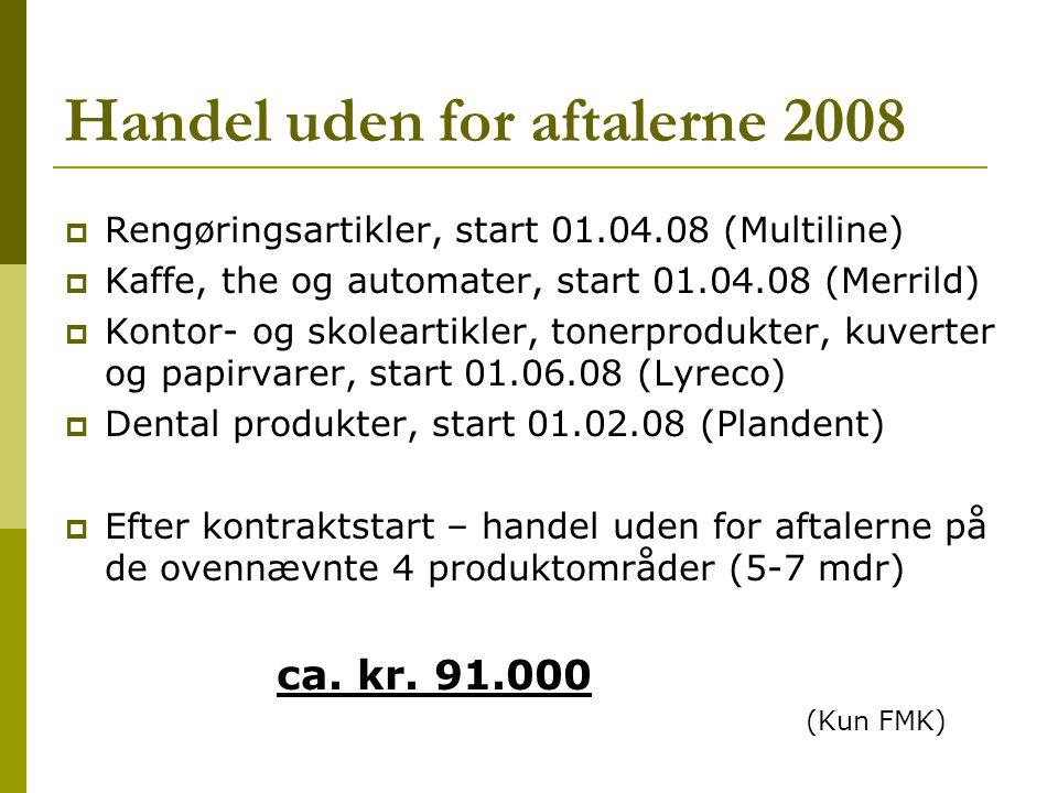 Handel uden for aftalerne 2008  Rengøringsartikler, start 01.04.08 (Multiline)  Kaffe, the og automater, start 01.04.08 (Merrild)  Kontor- og skoleartikler, tonerprodukter, kuverter og papirvarer, start 01.06.08 (Lyreco)  Dental produkter, start 01.02.08 (Plandent)  Efter kontraktstart – handel uden for aftalerne på de ovennævnte 4 produktområder (5-7 mdr) ca.