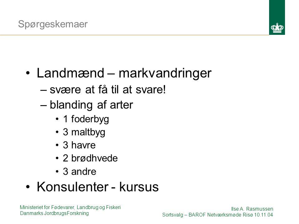 Ministeriet for Fødevarer, Landbrug og Fiskeri Danmarks JordbrugsForskning Ilse A.