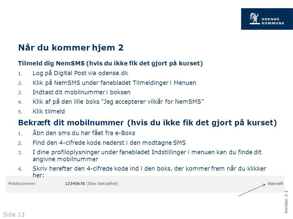 Version 3.1 Når du kommer hjem 2 Tilmeld dig NemSMS (hvis du ikke fik det gjort på kurset) 1.