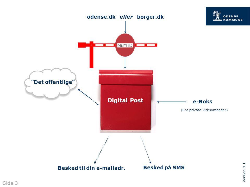 Version 3.1 Digital Post odense.dk eller borger.dk e-Boks Det offentlige Besked til din e-mailadr.